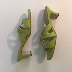 A. Marinelli women' s lime green leather sandals